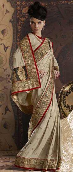 Light Fawn Art Pashmina #Silk #Saree With #Blouse @ $114.65 | Shop Here: http://www.utsavfashion.com/store/sarees-large.aspx?icode=skk13500d
