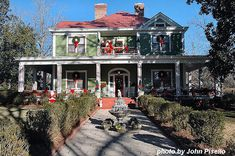 Wallace-Hollis front porch decorated for Christmas Outdoor Christmas Wreaths, Real Christmas Tree, Christmas Porch, Christmas Decorations, Front Door Decor, Wreaths For Front Door, Front Porch, Decorating On A Budget, Porch Decorating