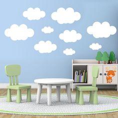 Kit 9 nuages - Stickers Muraux - Kit Stickers pour enfants. #stickersmuraux #decoration #motifs #mosaïque #nuages #WebStickersMuraux