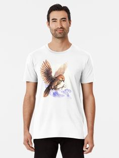 Litle and cute bird. Premium T-shitr with a Sparrow. A cute little bird. Adorable and lovely. A nice watercolor illustration of bird. Framed Prints, Canvas Prints, Cute Birds, Tshirt Colors, Watercolor Illustration, Sell Your Art, Cotton Tote Bags, Shirt Designs, Classic T Shirts
