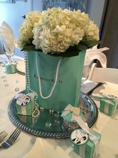 Breakfast at Tiffany's Bridal Brunch Centerpiece . - Breakfast at Tiffany's Bridal Brunch Centerpiece Tiffany E Co, Tiffany Blue Party, Tiffany Birthday Party, Tiffany Theme, Tiffany Wedding, Birthday Brunch, 40th Birthday, Tiffany Jewelry, Birthday Breakfast