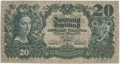 20 Schilling 1928 (Bauernmadl) Banner, Vintage World Maps, History, Retro, Dollar Bills, Banknote, Austria, Money, Report Cards