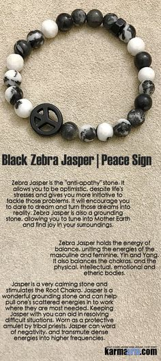 """Zebra Jasper is the """"anti-apathy"""" stone. It allows you to be optimistic, despite life's stresses and gives you more initiative to tackle those problems. It will encourage you to dare to dream and turn those dreams into reality. ....Bracelets I Mens Womens Beaded & Charm Yoga Mala I Meditation & Mantra I Spiritual. Black Zebra Jasper Peace Sign."""
