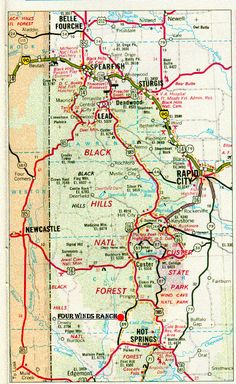 Map of the Black Hills. We did not have this map when we went but we did manage to hit almost all the cities on here. We stayed in Wall and also spent a day exploring the Badlands. Amazing.