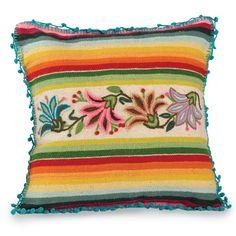 Rainbow Floral Pillow