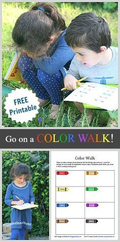 Free Printable Color Walk Scavenger Hunt for Kids: A fun activity to do on a outdoor walk or inside on a rainy day! ~ http://BuggyandBuddy.com