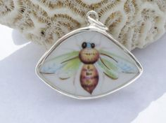 Sterling Silver Broken China Pendant Green Gold by MaroonedJewelry, $35.00