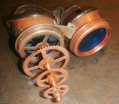 Steampunk Mad Goggles Hand Made with 3D Frame and Blue Lens | eBay