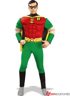 Couples Costume Inspiration: The Robin Muscle Chest Costume brings an added layer of strength to the guy you might think of as Batman's sidekick but who we know is a superhero in his own right.
