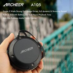 Archeer Waterproof Speaker Portable Outdoor Bluetooth Speaker With Bass For iPhone 6/6S Plus Samsung Smartphone                               Archeer A105 Waterproof wireless speaker is the key to wirelessly enjoying your music wherever you are right where it belongs, in your hands.     Perfect Shower/Outdoor Companion Music isn't just for inside the house. Still worry about your speaker being damaged when showering or drifting? The IPX4 waterproof design & rubber finish makes Archeer A105…