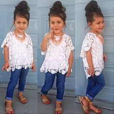 Kids Toddler Girls Clothes Lace Blouse Tops+Vest+ Denim Pants 3Pcs Outfits Set