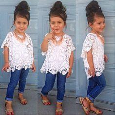 Kids Toddler Girls Clothes Lace Blouse Tops+Vest+ Denim Pants 3Pcs Outfits Set