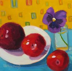 "Daily Paintworks - ""Three Plums and a Pansy"" - Original Fine Art for Sale - © Rhett Regina Owings"