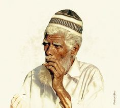 """Old Man, smoking, Traditional Cigarette called """"Beedi"""" in Jaipur, India, portrait, photography, artwork, artist, gifts, home decor, design, craft, people, street photography"""