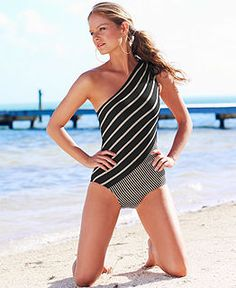 DKNY Swimsuit, One-Shoulder Asymmetrical Striped One-Piece