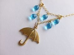 Rainy Day with my Umbrella Jewelry Necklace 14K Gold by LycheeKiss, $30.00