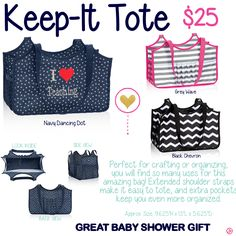 Keep-It Tote by Thirty-One. Fall/Winter 2015. Click to order. Join my VIP Facebook Page at https://www.facebook.com/groups/1603655576518592/