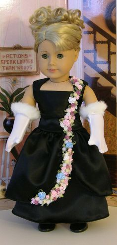 American Girl doll Black Satin Evening Gown - Petals in the Moonlight **Sale** American Doll Clothes, Ag Doll Clothes, American Dolls, America Girl, My American Girl, Barbie, Flower Girl Dresses, Doll Dresses, Girl Dolls