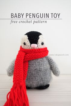 Baby Penguin Amigurumi Toy Crochet Pattern - One Dog Woof