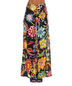Love this Black & Yellow Floral Palazzo Pants by Peace and Love on #zulily! #zulilyfinds
