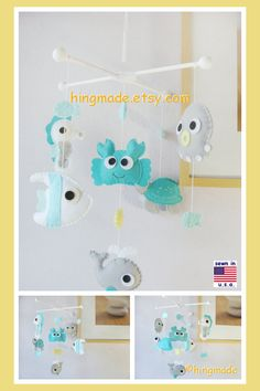 Baby Mobile Under the Sea Mobile Sea Animals Mobile by hingmade