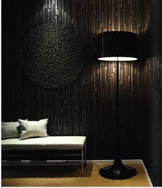 Black Interior Design Ideas | Shelterness  ***ONLY the wallpaper***