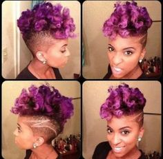 Purple Natural Hair- Naturally Me! Purple Natural Hair, Natural Hair Tips, Purple Hair, Natural Hair Styles, Dark Purple, Natural Mohawk, Curly Mohawk, Curly Fro, Natural Beauty