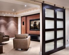 Love the big sliding door! Modern Media Room Design, Pictures, Remodel, Decor and Ideas - page 10
