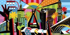 A arte do artista plástico Lobo é conhecida pelas cores vibrantes e alegres. Sua Pop Art se manifesta contando um pouco da vida de cada cliente.