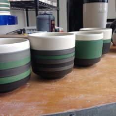 When the jar says leaf green, I guess you should expect leaf green. Much better results this go round. Raw underglaze to cone 6 has produced a nice waxy surface. Time to hit the supply store and order some colors, rather than using remnants hanging around the studio. #wip #gettingcloser #pottery #finecraft #porcelain