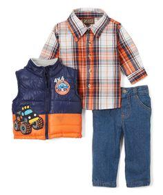 Navy & Orange Truck Zip-Up Vest Set - Infant