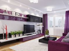 living room is the first room in a home interior that the user will see when he enters the house. Lilac Living Rooms, Cottage Living Rooms, Living Room Colors, Living Room Sofa, Interior Design Living Room, Living Room Designs, Living Room Decor, Living Room Wall Wallpaper, Wall Unit Designs