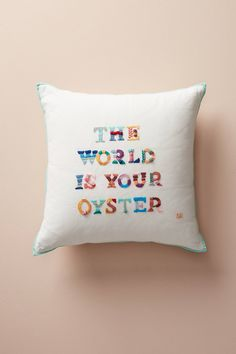 The World Is Your Oyster Embroidered Pillow | Anthropologie