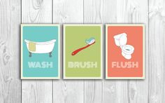Cute Idea for framables for the Bathroom....or buy them Set of 3 Bathroom Art Printables // Retro by SomebodyLovedShop, $12.00