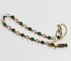 Green and Clear Rhinestone Line Tennis Bracelet by PastSplendors