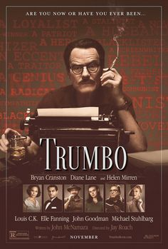 Trumbo on DVD February 2016 starring Bryan Cranston, Diane Lane, Elle Fanning, Helen Mirren. The successful career of Hollywood screenwriter Dalton Trumbo (Bryan Cranston) comes to a crushing end when he and other Hollywood fig 2015 Movies, Latest Movies, Hd Movies, Movies Online, Movies And Tv Shows, Movie Tv, Movie List, Bryan Cranston, Diane Lane