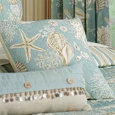 Natural Shells Coastal Quilt Bedding...maybe just the bedding, not the drapes, too. Beach house