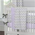Lilac and Slate Gray Chevron Crib Sheet | Carousel Designs