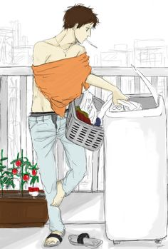 Antonio doing the laundry. Um...why do I have a feeling that he's going to take off that orange shirt and throw it in as well? And the jeans as well (or, at least, there's gotta be a reason why his fly's open :P) - Artist unknown