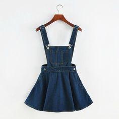New 2016 Vintage Sweet Preppy Style Womens takedown braces mini Denim Skirt Ladies Girls A-line Suspender Skirt S M L