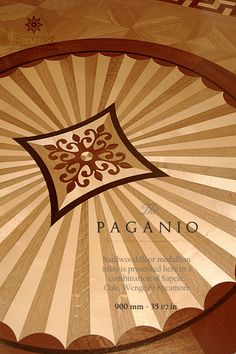 The PAGANIO hardwood floor medallion inlay. Manufactured in a combination of four wood specie it can be integrated in installation of simple-to-intricate parquetry. Manufactured by Pavex Parquet - www.pavexparquet.com