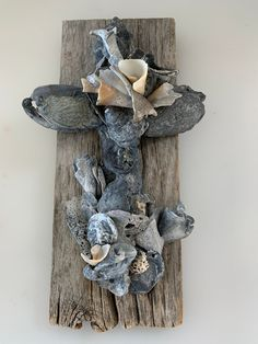 Catholic Confirmation Gifts, Old Barn Wood, Bohemian Accessories, Crucifix, Seashells, A Table, House Warming, Sculpting, Handmade Items