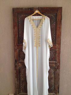 White caftan beach wedding kaftan silk dress by ArabianThreads, $190.00