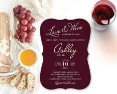 Bridal Shower Wine Invitation  Burgundy Bracket by VGInvites