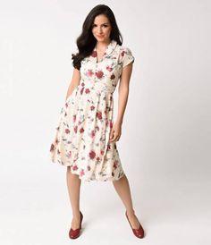 Hell Bunny 1950s Cream & Floral Cap Sleeve Leah Chiffon Swing Dress