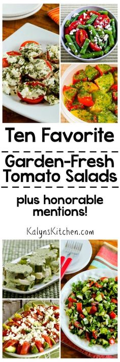 I LOVE fresh tomato season, and here are my Ten Favorite Summer Tomato Salads with Garden Tomatoes and honorable mentions! Most of these salads are low-carb, gluten-free, and South Beach Diet friendly, and some are Paleo and Whole 30 as well. [found on KalynsKitchen.com]