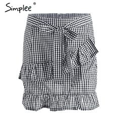 Aliexpress.com : Buy Simplee Lace up plaid short skirt women Ruffle high waist bow tie A line skirts female bottom Vintage mini skirt summer beach from Reliable skirt female suppliers on Simplee Apparel