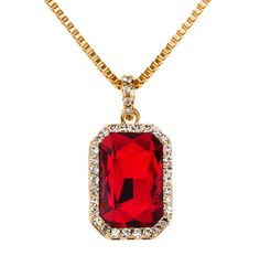Bling Bling Iced Out Ruby CZ Pendant Chain 24k Gold Plated Square Red, Black, Blue RUBY Pendant Chain Hip Hop Men/Women Necklace