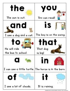 Sight word sentence reading book: Set of 100 Fry Words with pictures and sentences. Kindergarten Sight Word Games, Preschool Sight Words, Teaching Sight Words, Phonics Words, Sight Word Practice, Kindergarten Learning, Fry Sight Words, Sight Word Sentences, Sight Word Flashcards
