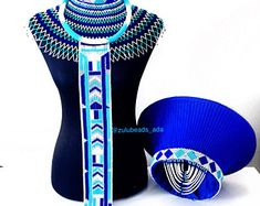 Etsy :: Your place to buy and sell all things handmade Zulu Traditional Attire, African Traditional Wedding Dress, Traditional Dresses, Traditional Design, African Hair Wrap, Zulu Wedding, Xhosa Attire, Africa Necklace, African Fashion